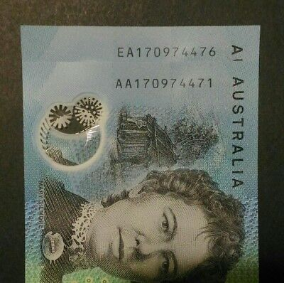 UNC 2017 First + Last Prefix - AA / EA - Near matching Serial # Banknotes
