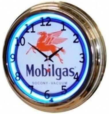 """Retro 17"""" Blue Neon Mobil Gas Oil Service Station Sign Man Cave Wall Clock NEW"""