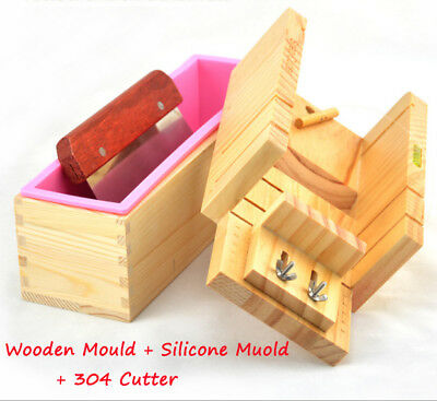 Wooden Handmade Soap Mould Loaf Mold Silicone With Stainless Steel Cutter Slicer