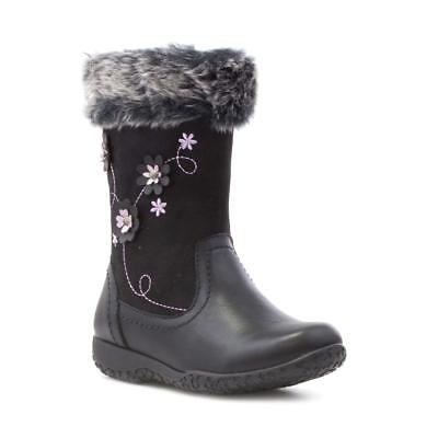 Walkright - Girls Walkright Black Embroidered Flower Calf Boot