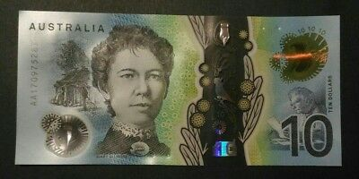 2017 $10 First Prefix UNC New Generation Banknote - Fast Registered Postage