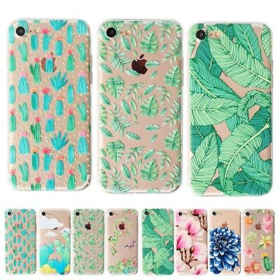 UK Plant Soft Silicone Rubber Thin Clear Phone Case Cover For iPhone 6s 6 Plus