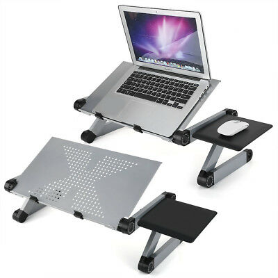 Silver Adjustable Laptop Computer Notebook Stand Table Desk Lap Sofa Bed Tray