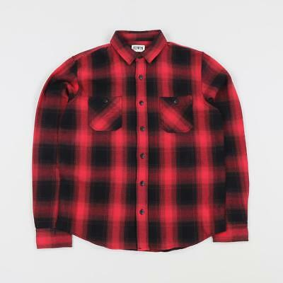 ac3585ec8c6b Edwin Japan Long Sleeved Cotton Flannel Labour Shirt Checkered Red Black