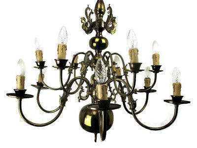 Vintage Flemish ' Dutch ' Double Chandelier 12 Arms Lights Mermaids Fish HTF