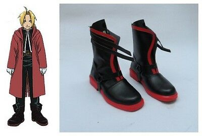 Fullmetal Alchemist Edward Elric's Cosplay Costume Boots Boot Shoes Shoe UK