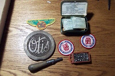Otis Elevator Collectors  Lot / Patches, First Aid Kit, Floor Plate, Etc.