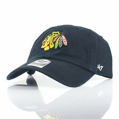47 Brand NHL 'Clean Up' - Chicago Blackhawks Black Curved Peak Adjustable Cap