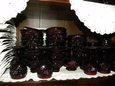 Vintage AVON 1886 Cape Cod Collection Ruby Red dinnerware lot over 213 pieces