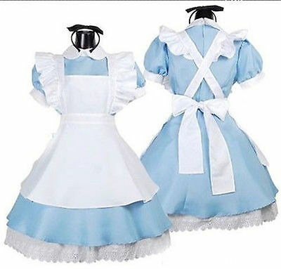 Alice In Wonderland Costume Cosplay Women Girl Maid Fancy Dress Lolita 4 Size