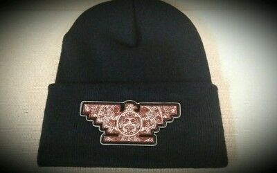3341f1af469 Mens Chicano Lowrider Hat Aztec Bird Custom Design Winter Beanie Brown    Black