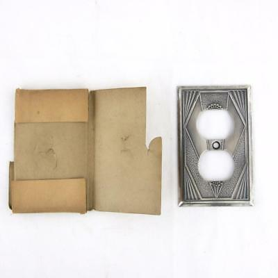 1930s Rare AF Co Art Deco Duplex Outlet Wall Plate Socket Cover Solid Metal NOS