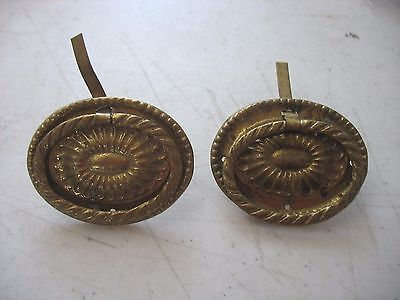 Pair 2 Antique Vintage Brass Drawer Drop Bail Pull Handle Oval Rope Flower