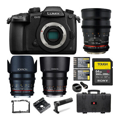 Panasonic Lumix GH5 4K Mirrorless Camera (Body) with Rokinon 3-Lens Cine Bundle