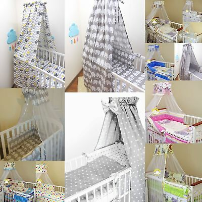 10 Pcs Baby Nursery Bedding Set fit Cot 120x60 or Cot Bed 140x70cm-CANOPY/Bumper