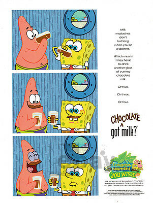Spongebob Squarepants 1-page clipping 2001 Got Chocolate MIlk? heavy paper