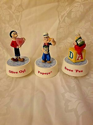 Music Box Popeye Olive Oyl Swee Pea 1989 Charactor Born On Date on Figures