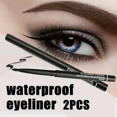Women Waterproof Eyeliner Eye Pencil Rotary Black Eye Pen Retractable Makeup 2Pc