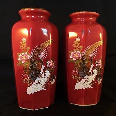 Vintage Antique Collectible Two Chinese Porcelain Vase Hand Painted Burgundy Red