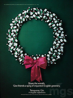 Tanqueray Scotch print ad Dec 1987 Christmas wreath made of bottles & bow