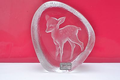 Mats Jonasson, handmade Swedish Lead Crystal Large Paperweight, Fawn / Bambi