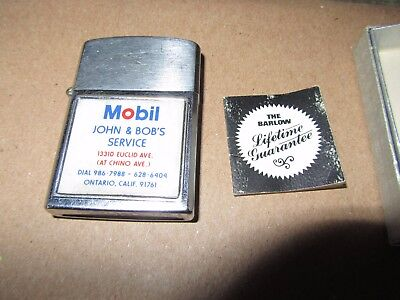 Vintage Mobil Oil Lighter Gas & Oil Advertising Cigarette Lighter Barlow Japan