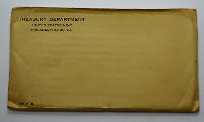 1957 P Us Mint Proof 5 Coins Set, Silver,yellow Flat Envelope Treasury, Unopened