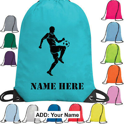 Football Personalised Bag Drawstring PE Kit Gym School Sports Kids Team Boy Girl