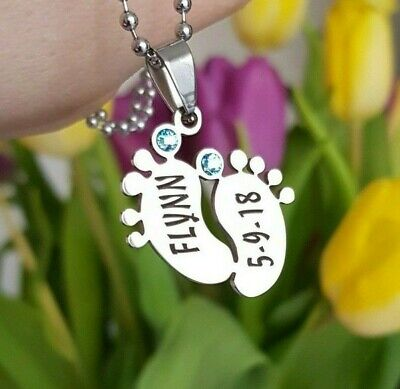 Christmas Birthday Gift for Mum Sister Mummy Her Personalised necklace baby feet