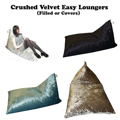 Crushed Velvet Lounger Pyramid Beanbag Gaming Chair Bean Bag Kids Adults Bags
