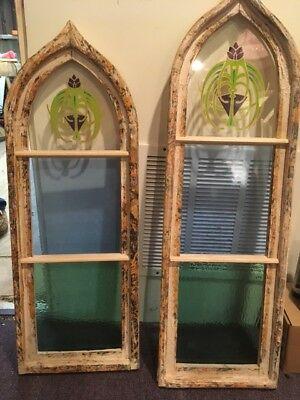 2 Stained Glass Art Deco/Nouveau Style Arched windows