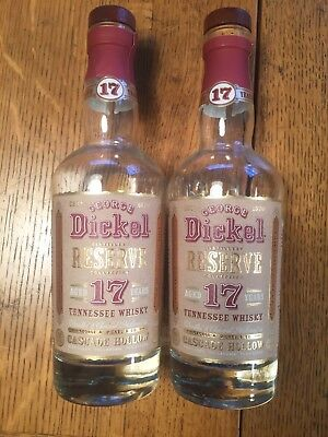 2 George Dickel 17 Cascade Hollow Tennessee Bottles