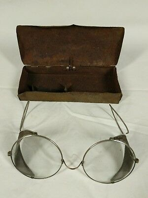 Vtg Steampunk? Motorcycle/Industrial Metal Safety Glasses Goggles Mesh Side Case