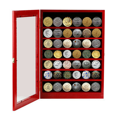 Military Challenge Coin Display Case Casino Poker Chip Shadow Box Cabinet,Red