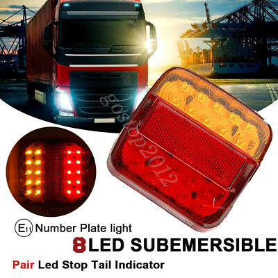 Pair 20 LED Rear Board Lamps E11 Tail Brake Stop Indicator Trailer Truck Lorry