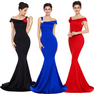 Sexy One Shoulder Mermaid Gown Wedding Formal Ball Prom Party Long Evening Dress