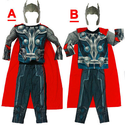 New Size 2-12 Kids Costumes Muscle Boys Thor Avenger Mask Gift Marvel Party