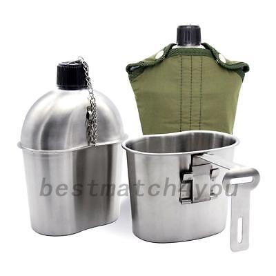 Stainless Steel Canteen Military with Cup & Green Nylon Cover for Camping/Hiking