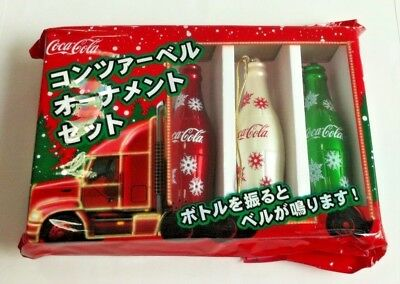 3Pc Coka Cola Coke Aluminium Bottle Bell Christmas Tree Ornament Japan Gift Set
