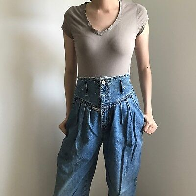 Vintage Hollywood Jeans Acid Wash Tapered Leg High Waist Made in Canada 24x29