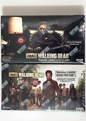 Walking Dead Season 3 Part 1 & 2 Trading Card Hobby boxes GET BOTH!