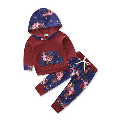 US Newborn Infant Baby Boy Girl Long Sleeve T-shirt+Pants Legging Outfit Clothes