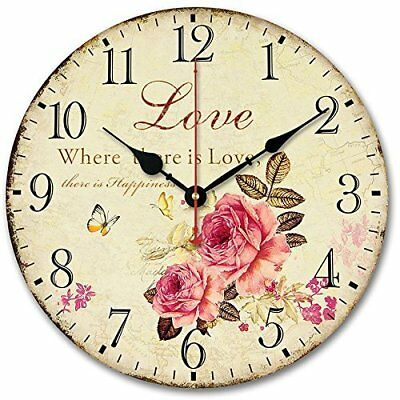 """❤ Silent Wall Clock Usmile 12"""" Vintage Sweet Rose Sing For Love Style Wooden"""