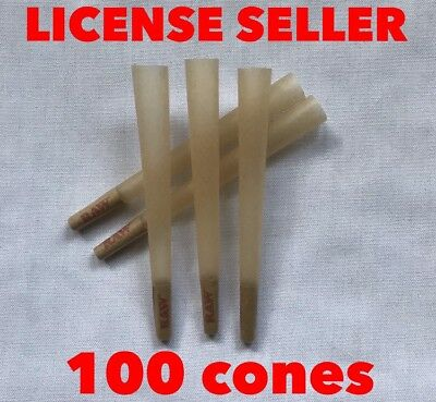 RAW Organic pre rolled cone 1 1/4 Size Cones with Filter  (100 packs)