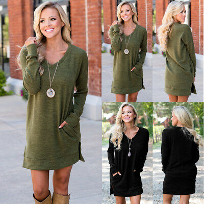 Womens Winter Long Sleeve Jumper Tops Ladies Casual Sweater Short Mini Dress US
