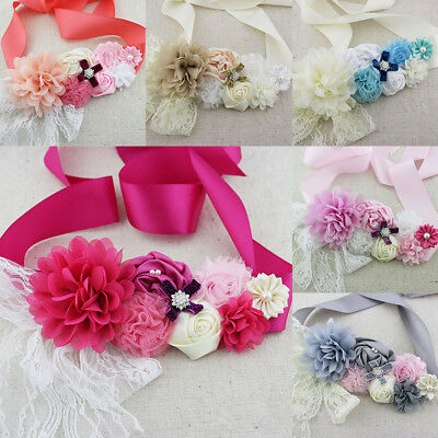 Pearls Flower Mam Girls Sash Belt Maternity Bridal Wedding Sash Bridal Photo Pro