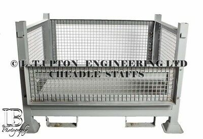 Mesh stillage , steel pallet , lifting cage , stackable , storage container