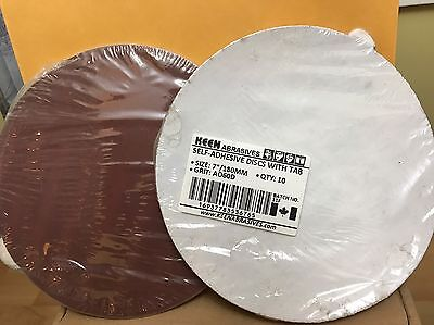 "Pack of 10, KEEN #36765, 7"" PSA Paper Sanding Discs  No Vac Hole 60 Grit"