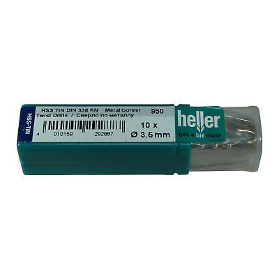 Pack of 10 German Manufactured Heller HSS-R Drill Bits 1mm x 34mm
