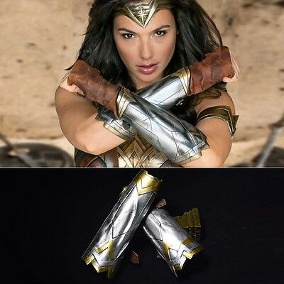 Wonder Woman Cosplay Arm Bracers Gauntlet Cuffs+Headband Crown Halloween Outfit